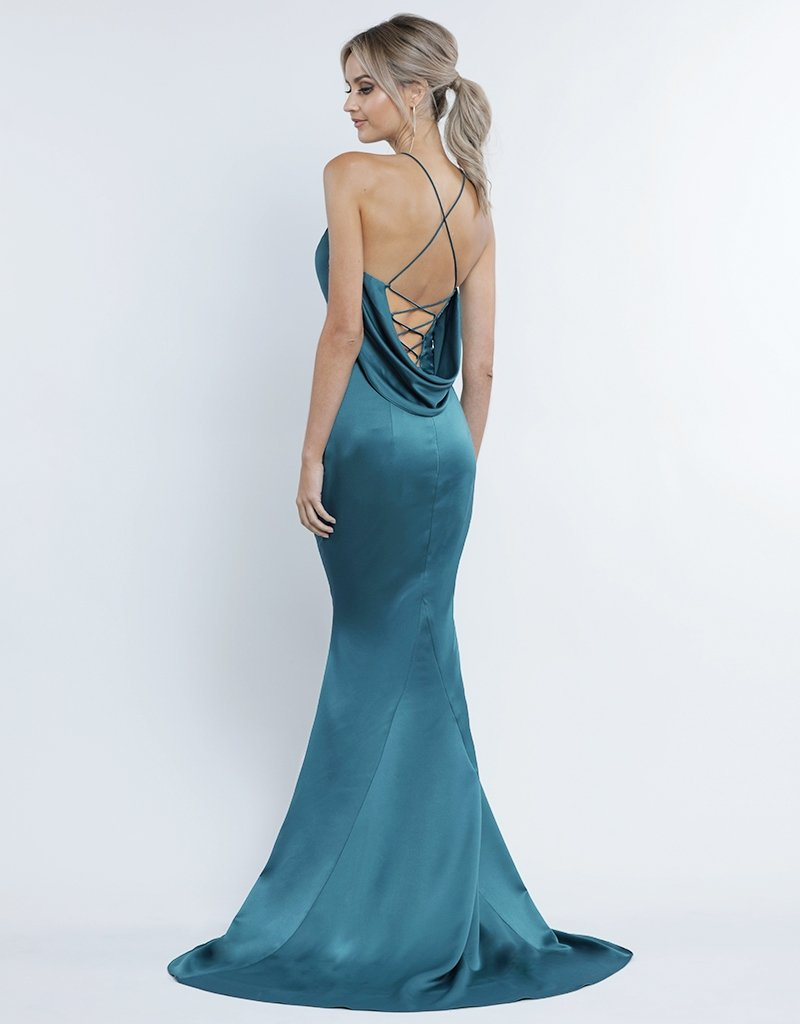 Noami Satin Cowl Back Gown - Deep Teal