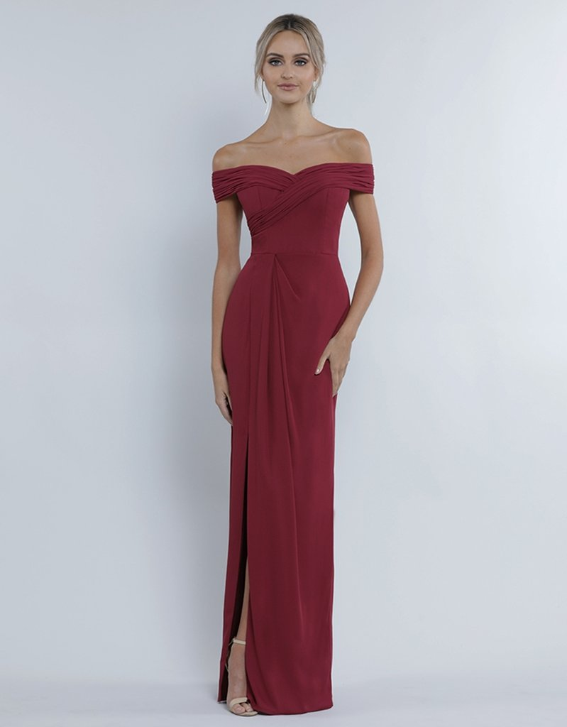 Karlie Off-Shoulder Chiffon Gown - Velvet Red