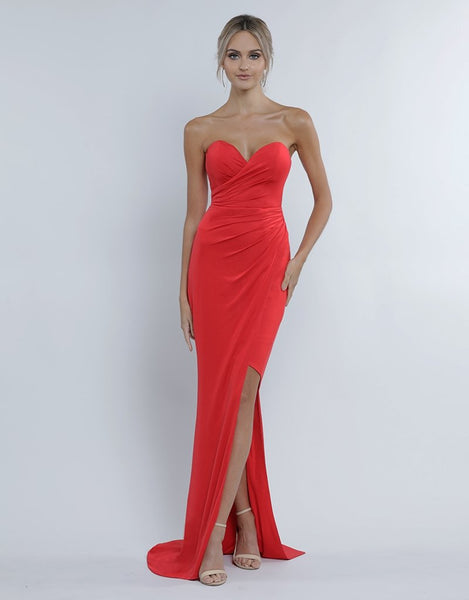 Brooke Sweetheart Draped Gown - Chili Oil