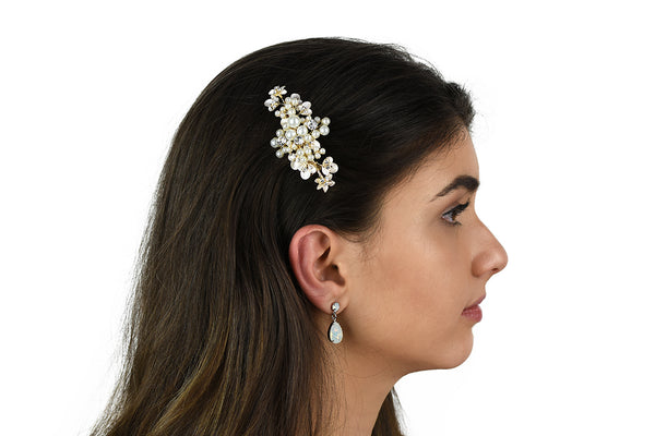 Leah - Small Pearl & Crystal Floral Clip (Silver/Gold)