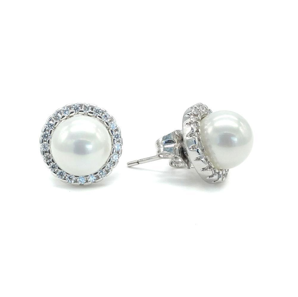 Erin - 4 Way Interchangeable Pearl & CZ Studs (Silver/Gold)