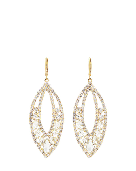 Badgley Mischka - Gold and Crystal Leaf Earrings