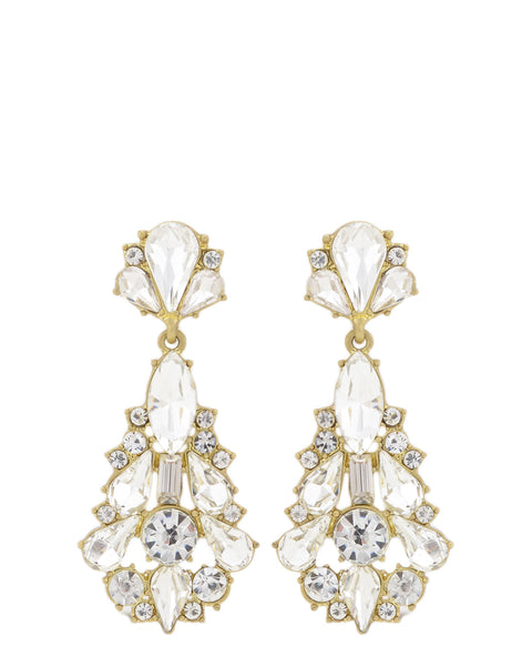 Badgley Mischka - Gold and Crystal Tear Drop Earrings