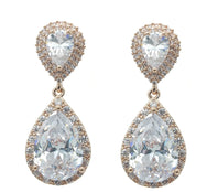 Sienna - Large Double Tear Drop Bridal Earrings - Rhodium / Rose Gold
