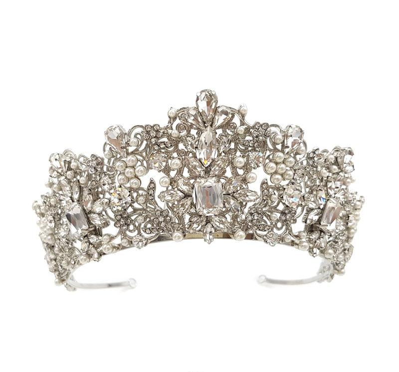 Taylor Crystal & Pearl Crown (Silver / Gold)