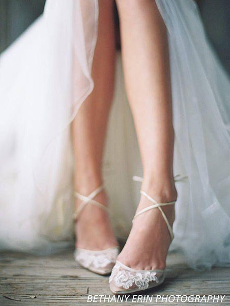 Amelia - Kitten Heel Lace wedding Shoes