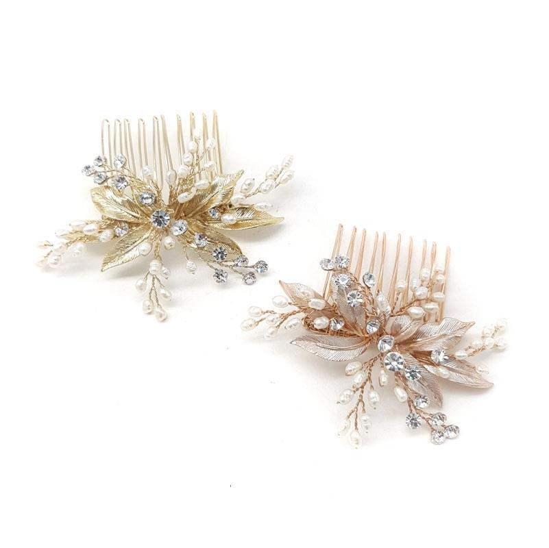 Ameli -  Small Crystal & Freshwater Pearl Comb