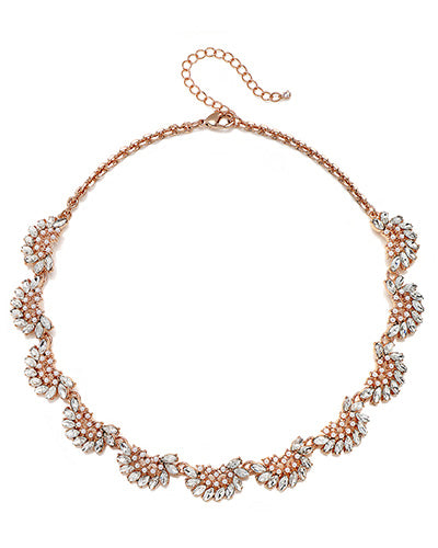 Rose Gold Crystal & Mini Pearl Arch Necklace