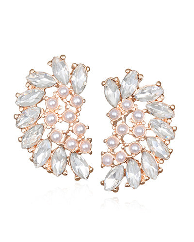 Rose Gold Mini Pearl & Crystal Arch Stud Earrings