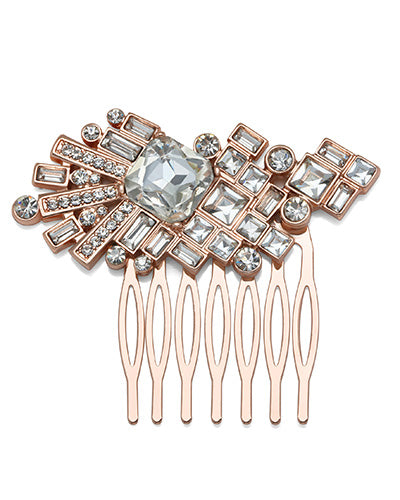 Rose Gold Crystal Square Comb