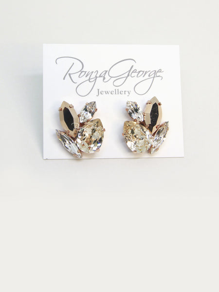 Acacia - Rose Gold Plated Light Silk, Rose Gold & Clear Swarovski Mix Cluster Stud