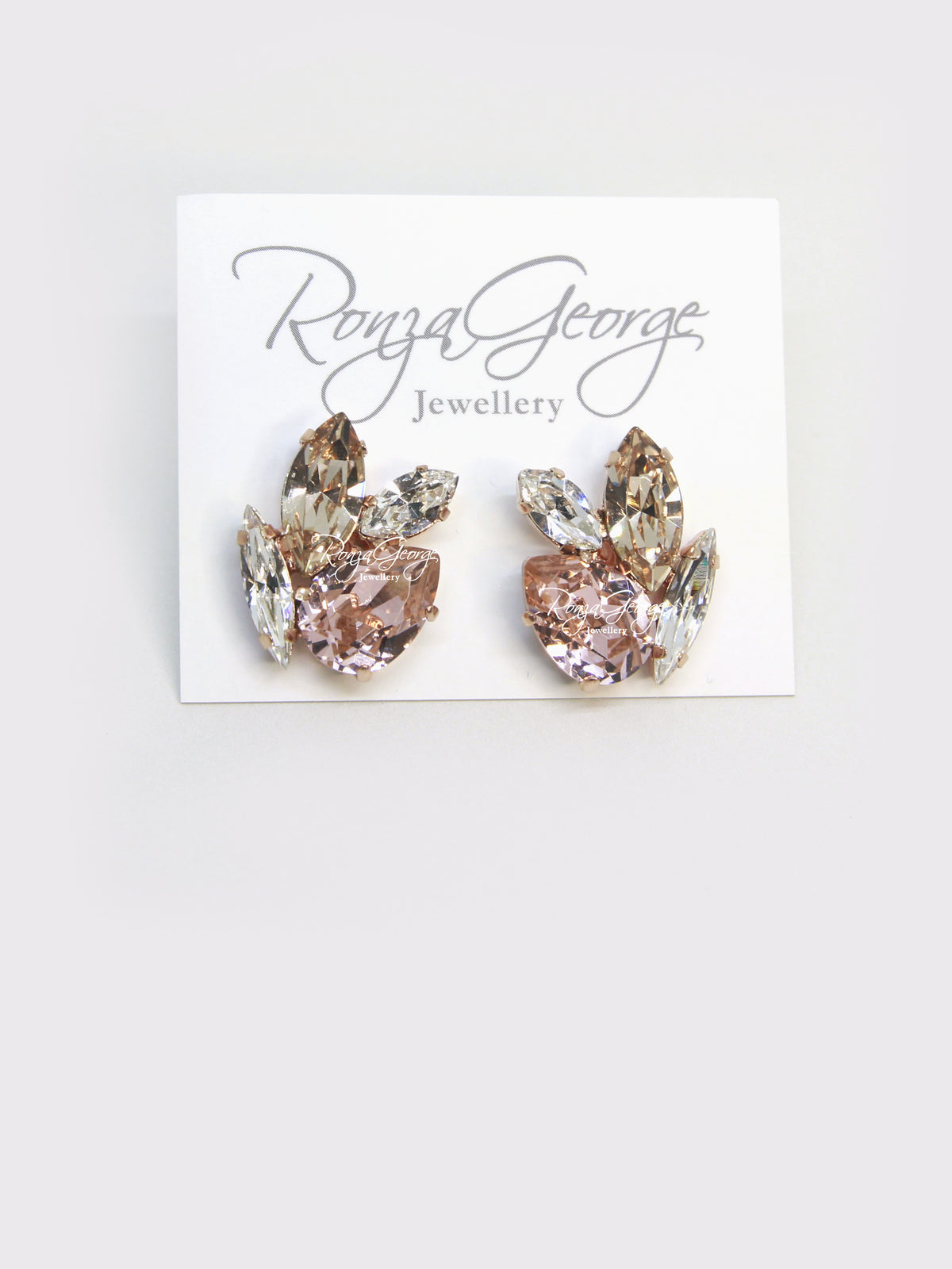 Acacia - Rose Gold Plated Vintage Rose, Light Silk & Clear Swarovski Mix Cluster Stud