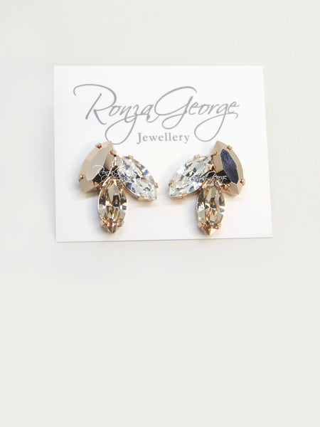 Alysar - Rose Gold Plated Swarovski Marquise Mix Cluster Studs