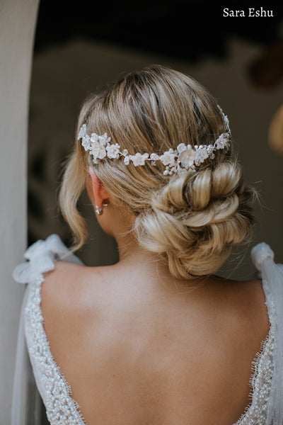 Andi - Floral Crystal and Pearl Hair Vine