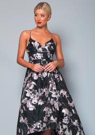Bariano - Adrianne Organza Floral Print Gown