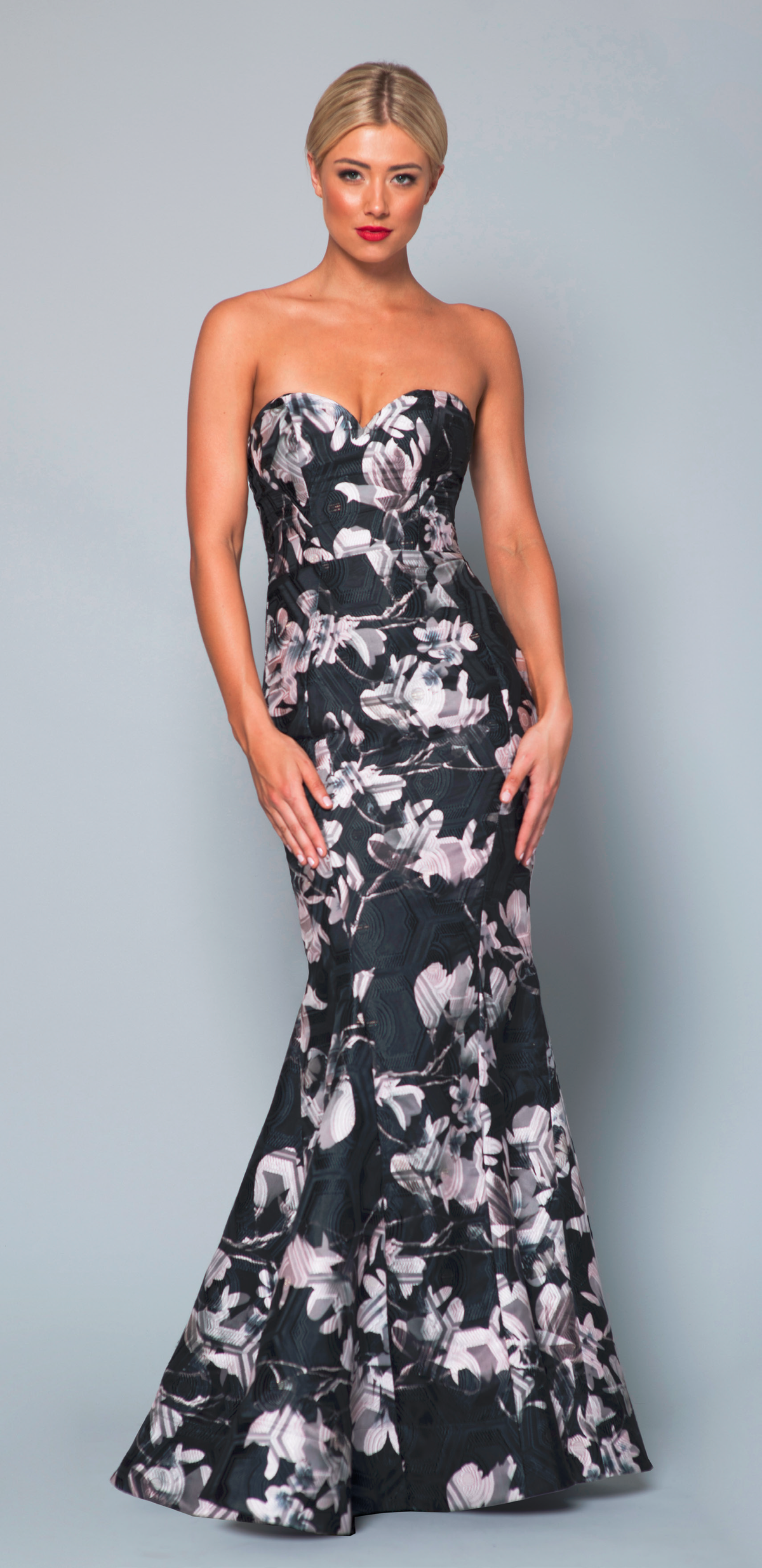 Bariano - Analeigh Organza Floral Print Gown