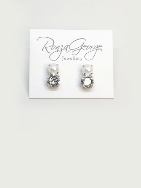 Bear - Rhodium Plated Pearl & Clear Swarovski Studs