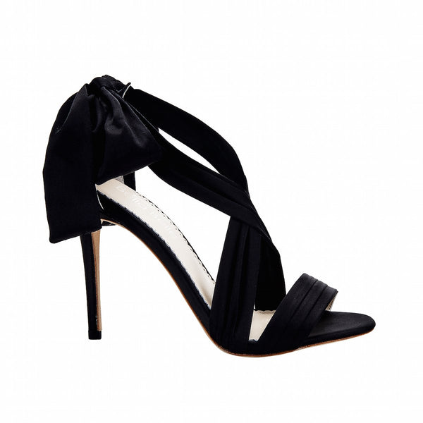 Kate - Black Silk Ribbon Heels