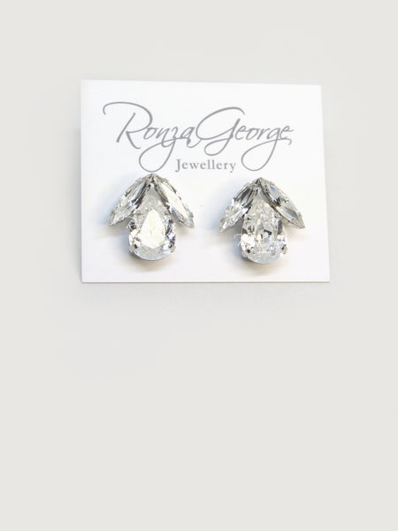Bird - Rhodium Plated Clear Swarovski Sphinx & Pear Earrings