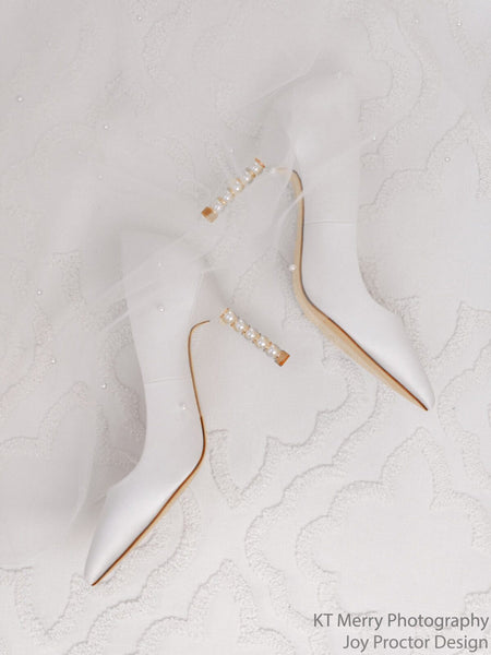 Audrey - Ivory Crystal & Pearl Heel Shoes