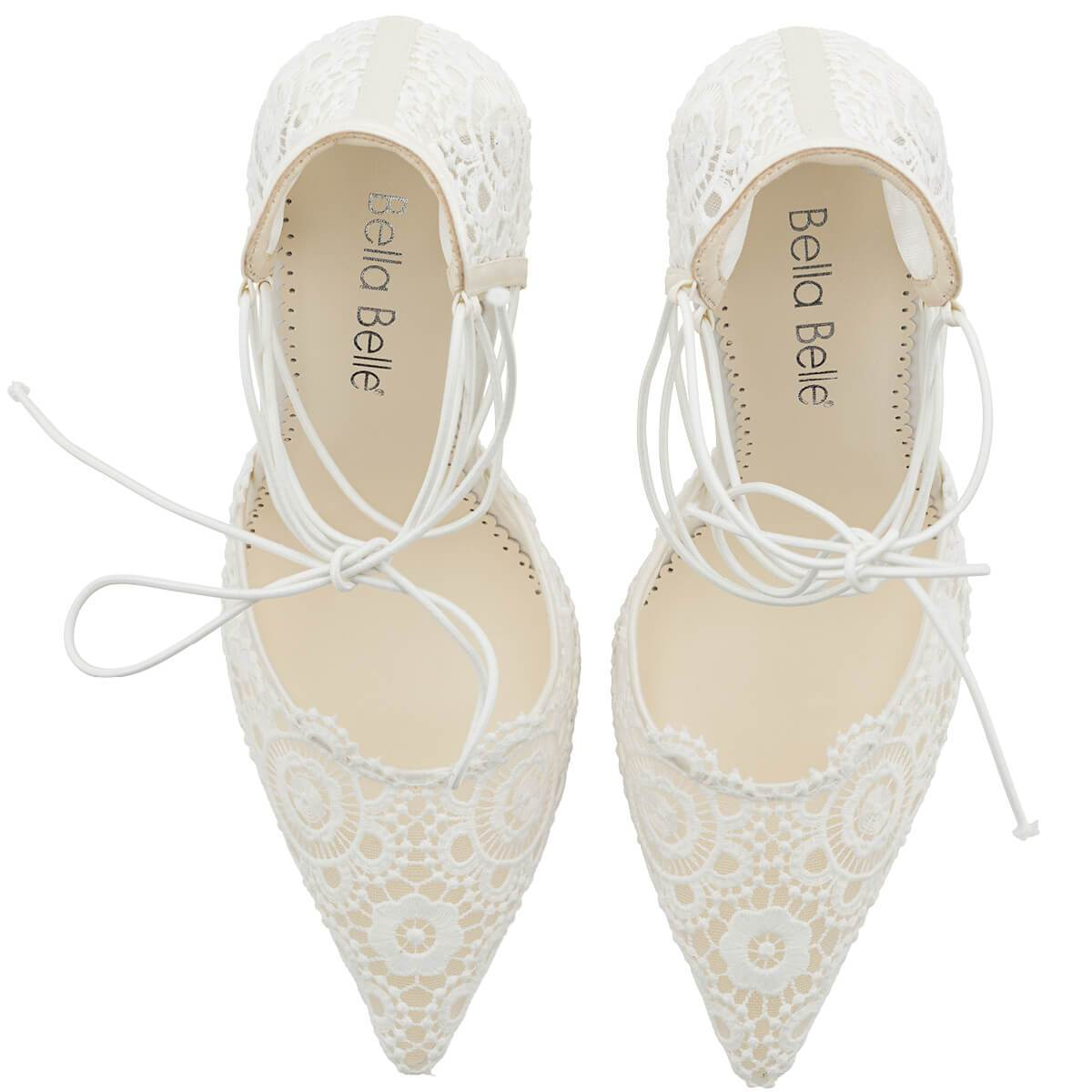 Cameron - Ivory Lace Up Wedding Heels