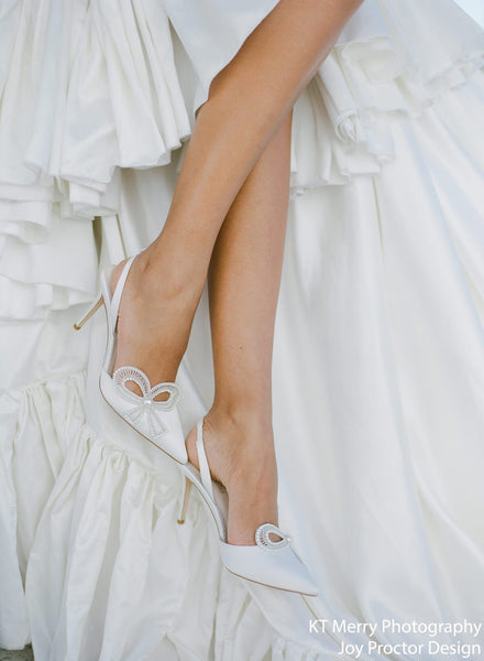 Kenzie - Ivory Beaded Pearl Bow Shoes