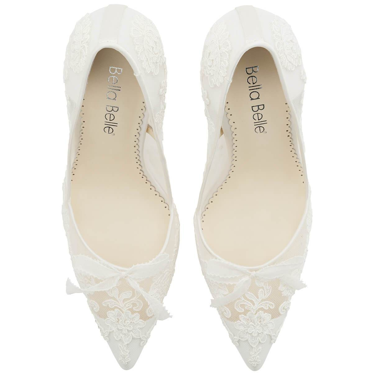 Sophia - White Flower Wedding Shoes Lace Heels