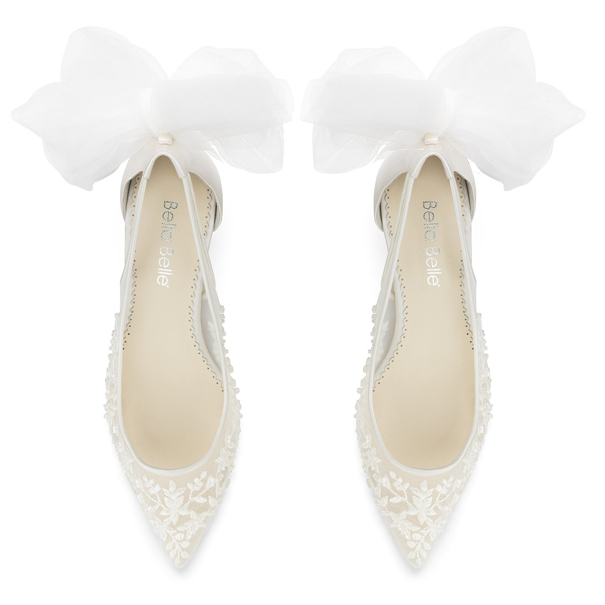 Esther - Floral and Tulle Bow Kitten Heel