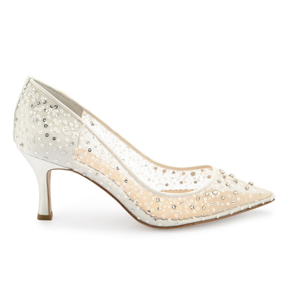 Evelyn Sequin Low Ivory Wedding Shoes