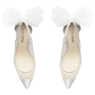 Matilda - Polka Dot Ivory Pump With Tulle Bow