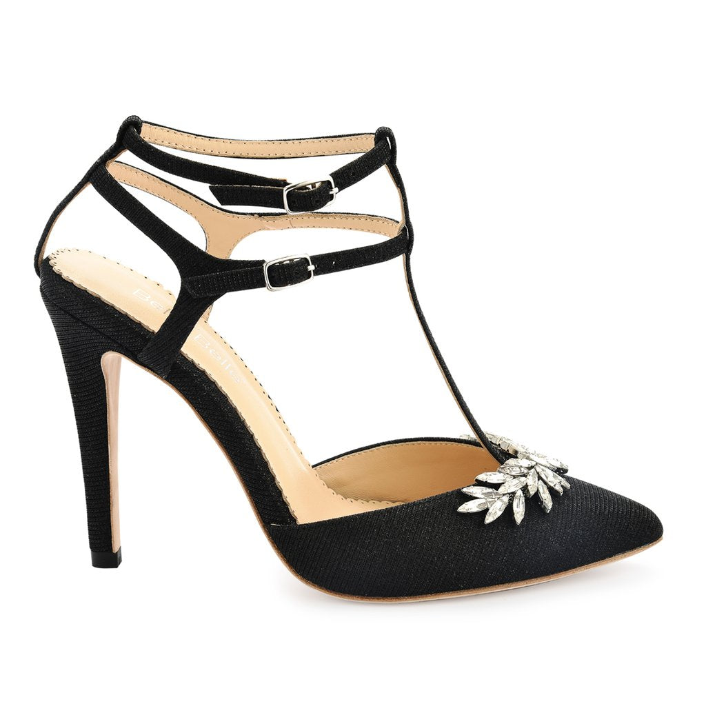 Payge - Black T Strap Evening Shoe
