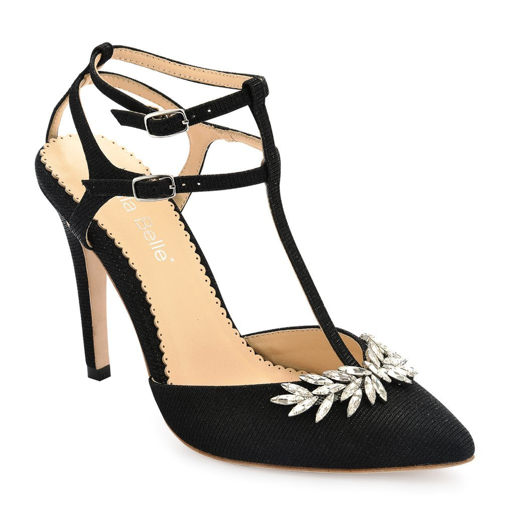 Paige - Black T Strap Evening Shoe