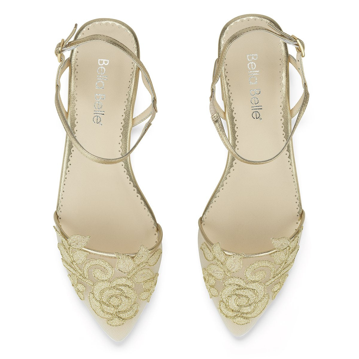 Shirley - Gold Embroidered Flat