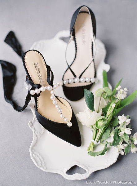 Lisbeth - Black Pearl & Crystal Shoes