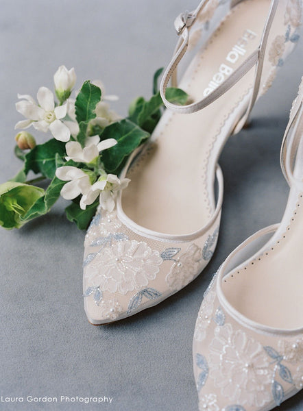 Viola - Baby Blue Embroidery Mid Heel