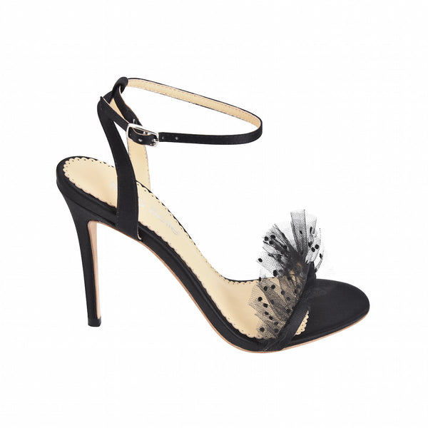 Bridgette - Black Pleated Tulle Heel