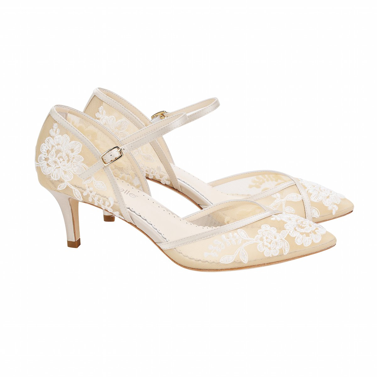 Candice -  Nude & Ivory Lace Low Heels