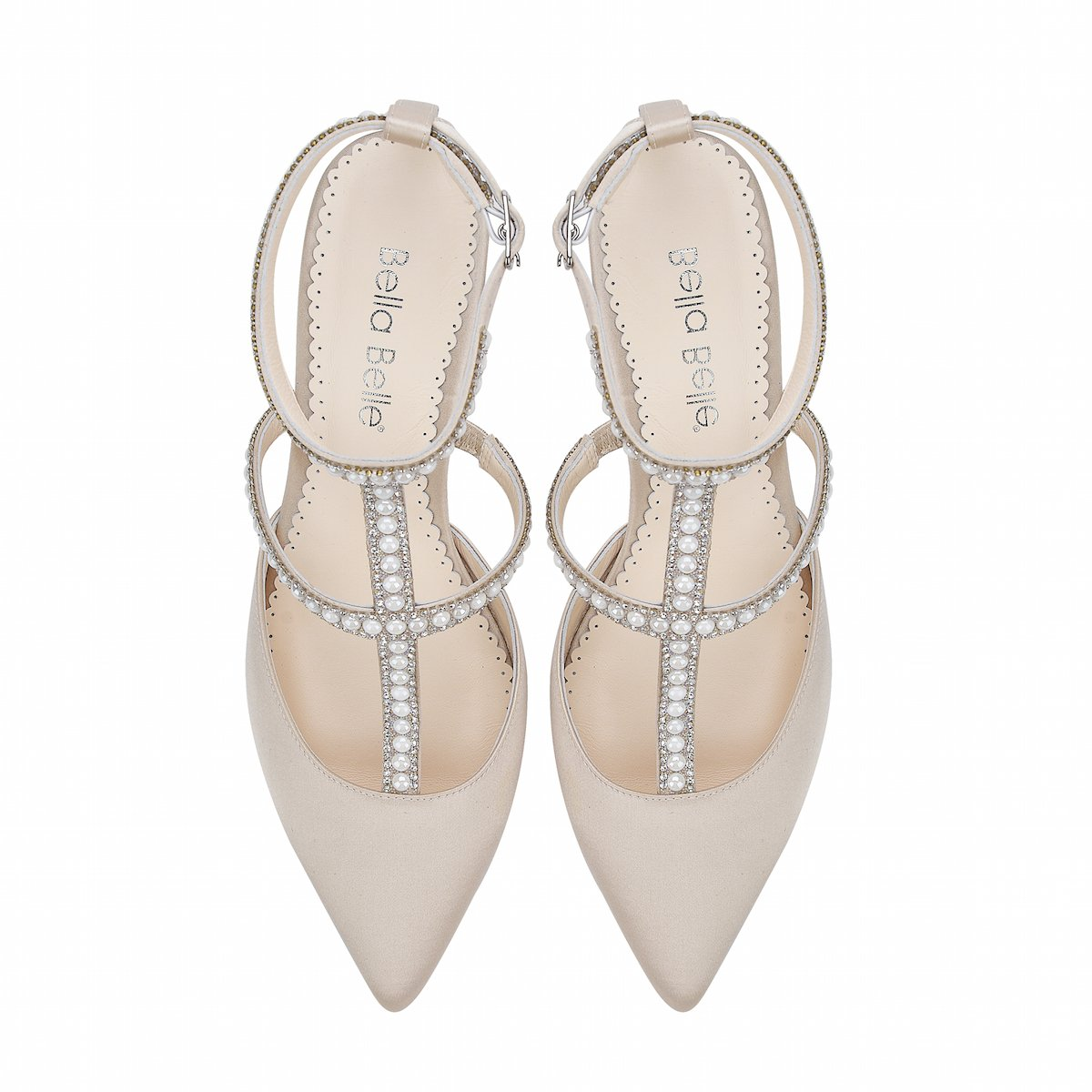 Courtney - Champagne Pearl & Crystal Low Heel