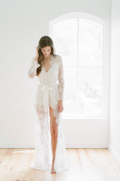 Swan Queen- Ivory Lace Robe - Long Bridal Gown