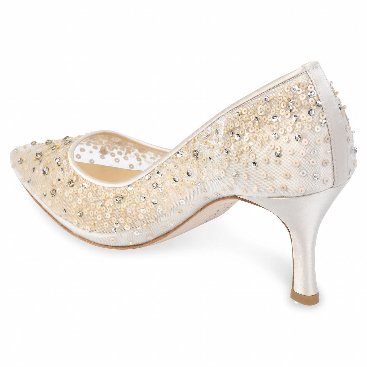 Evelyn Nude - Sequin Low Wedding Shoes