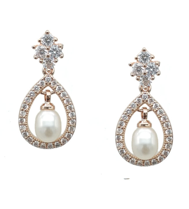 Ella - Vintage Bridal Earrings - Small Pearl Drop