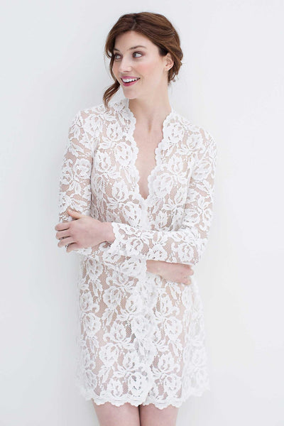 Lauren - Stretch French Lace Bridal Robe in Ivory