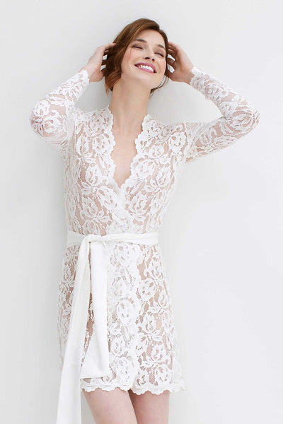 Stretch French Lace Bridal Robe in Ivory LAST SIZES