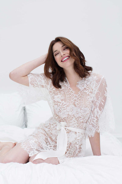 Lace Kimono Bridal Robe - Lace Bridal Robes Sydney - The White Collection