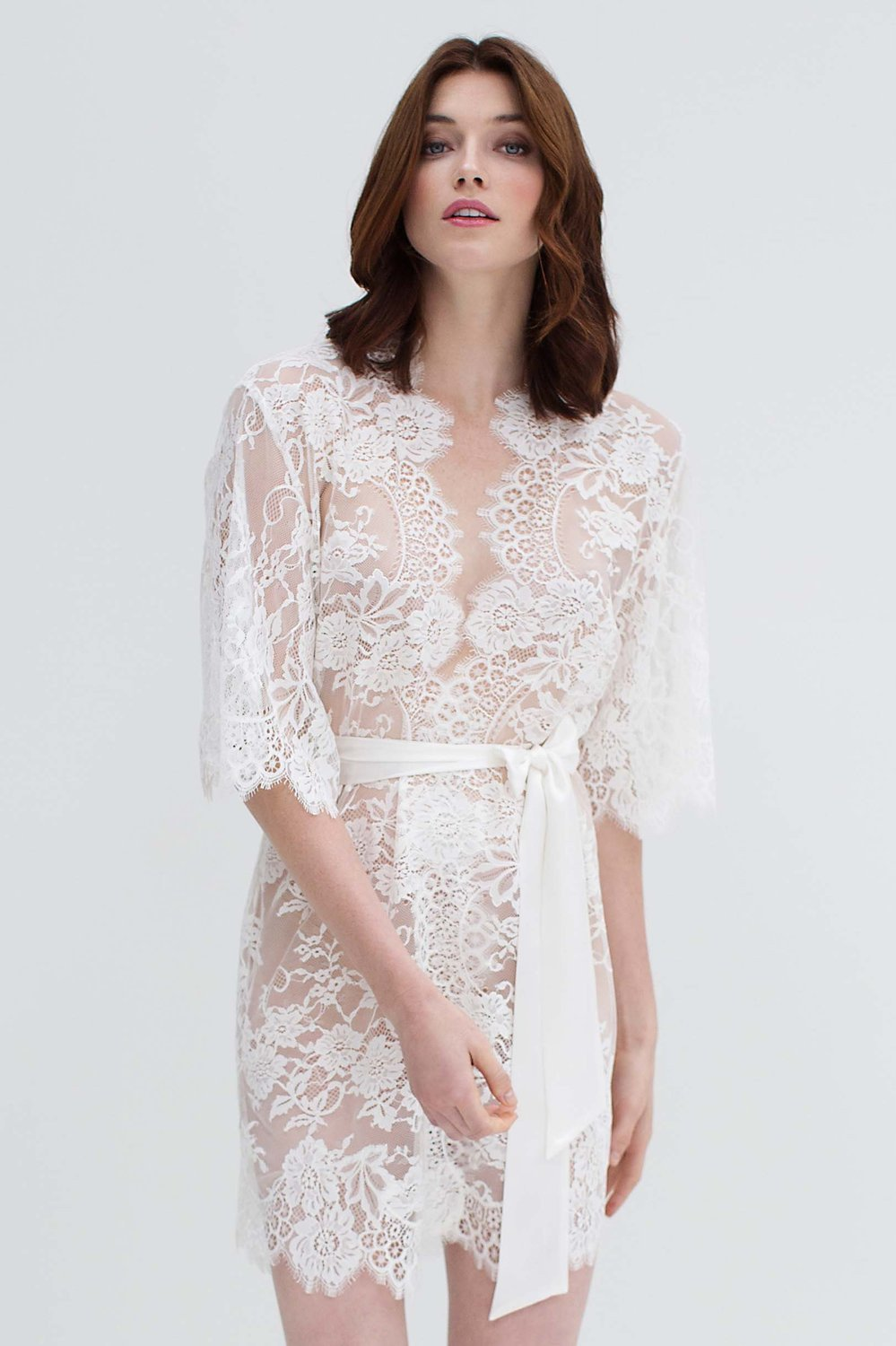 664223e07 ... Lace Kimono Bridal Robe - Lace Bridal Robes Sydney - The White  Collection ...