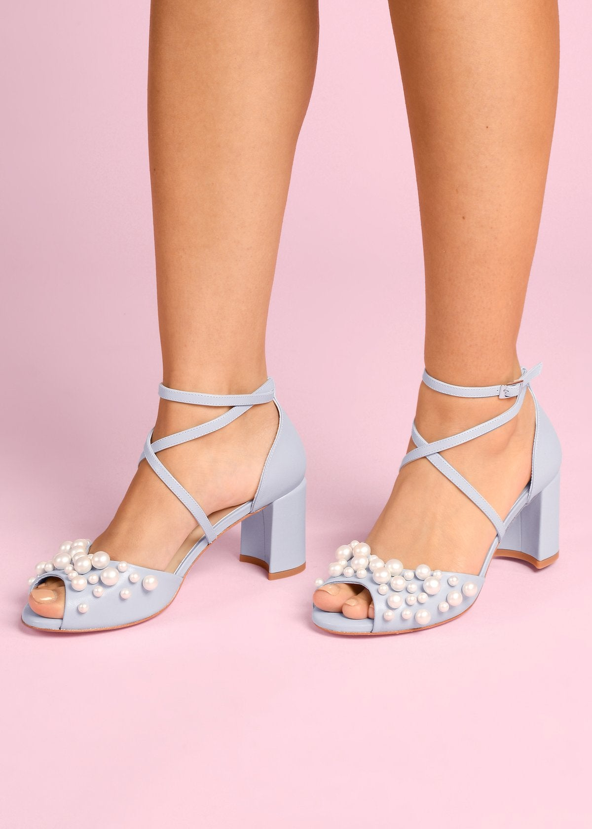 Henri - Pale Blue by Charlotte Mills Wedding Shoes