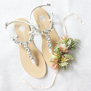 Bella Belle - Hera - Silver Pearl Sandals - Bridal Shoes Melbourne