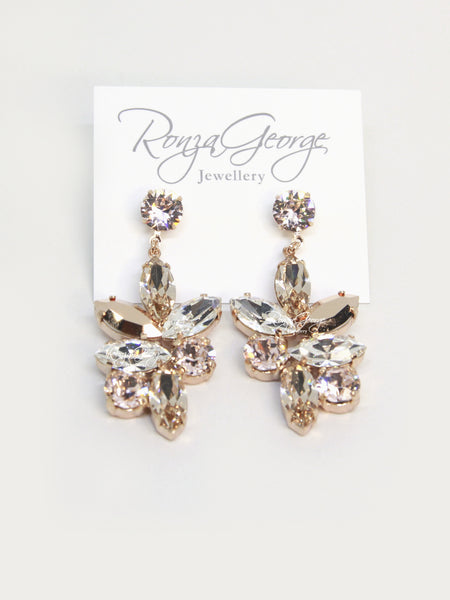 Jen - Rose Gold Plated Swarovski Silk & Rose Gold Mix Earrings