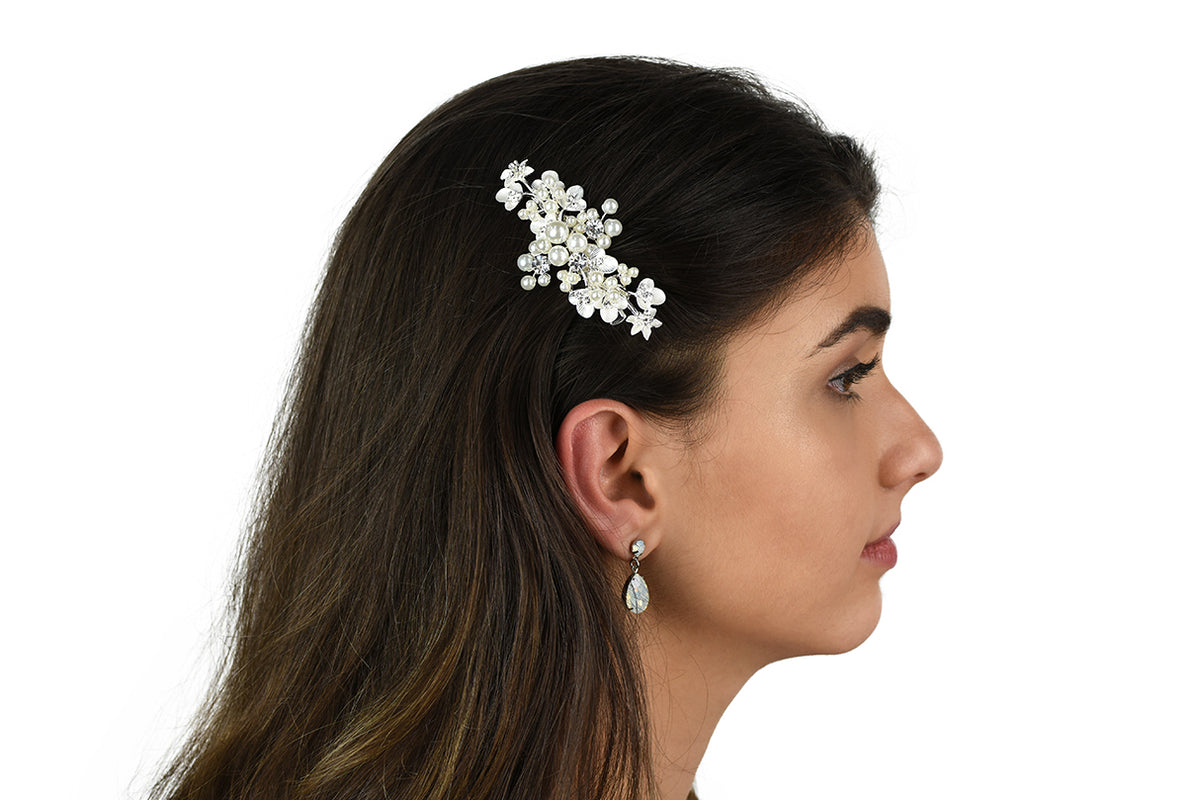 Leah - Small Pearl & Crystal Floral Clip