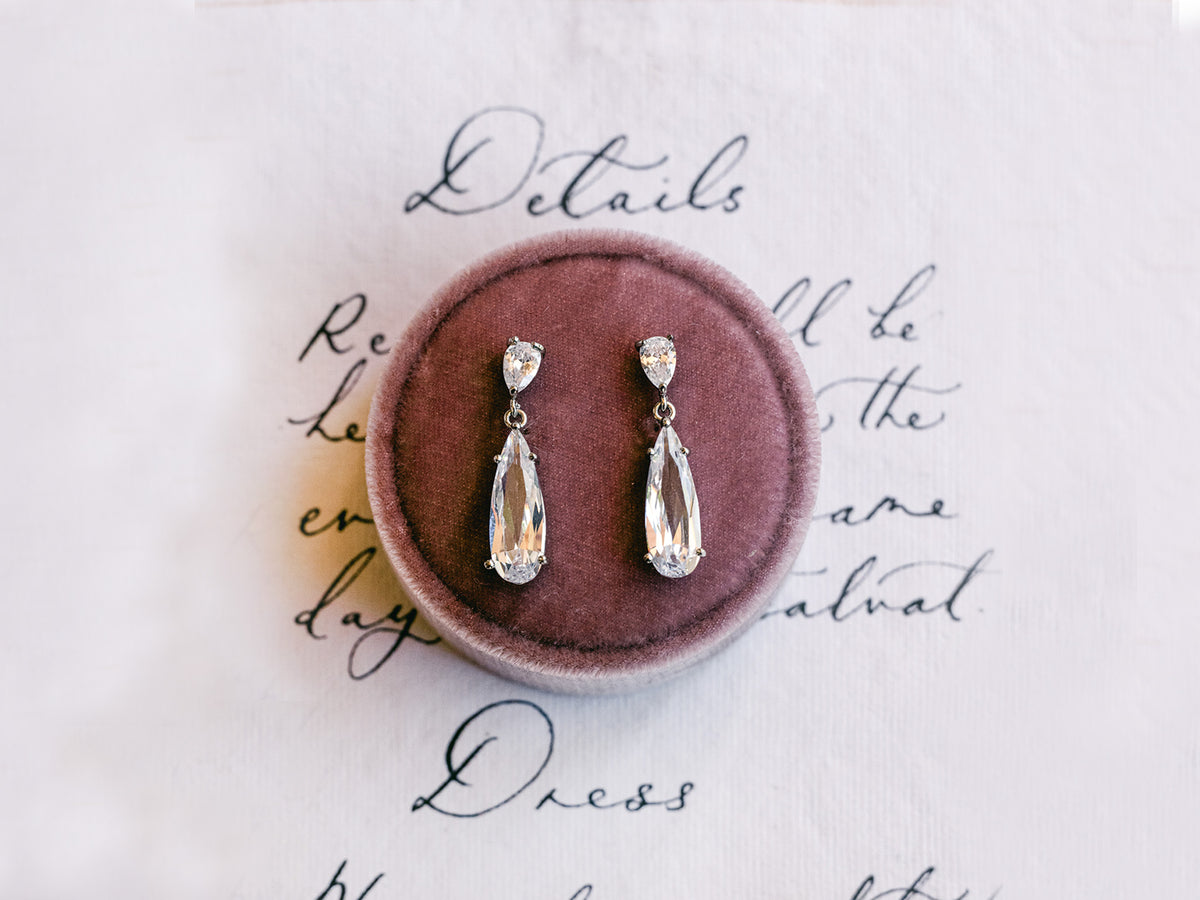 Jane - Modern Teardrop Bridal Earrings